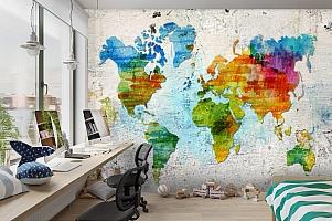 3D Фотообои «Континенты на бетоне» вид 3
