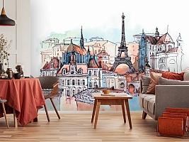 3D Фотообои «Париж акварелью» вид 3