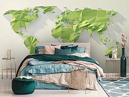 3D Фотообои «Зеленые континенты из полигонов» вид 6