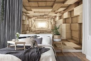 3D Фотообои «Тоннель из деревянных кубов» вид 8
