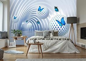 3D Фотообои «Футуристичный тоннель с бабочками» вид 7