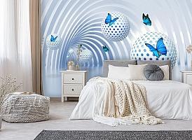 3D Фотообои «Футуристичный тоннель с бабочками» вид 6