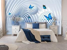 3D Фотообои «Футуристичный тоннель с бабочками» вид 5