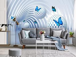 3D Фотообои «Футуристичный тоннель с бабочками» вид 4