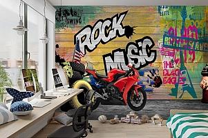 3D Фотообои «Красный мотоцикл в гараже» вид 3