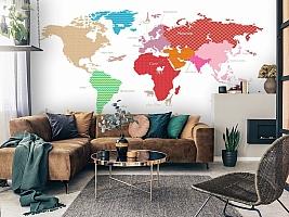 3D Фотообои «Карта континентов с узорами» вид 3