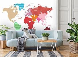 3D Фотообои «Карта континентов с узорами» вид 2