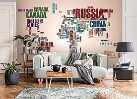 3D Фотообои «Континенты из слов» вид 8