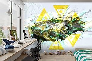 3D Фотообои «Кабриолет в абстрактном стиле» вид 3