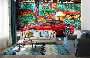 3D Фотообои «Красный автомобиль на фоне граффити» вид 6