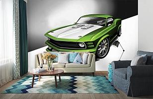 3D Фотообои «Скетч зеленый мустанг» вид 6