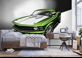 3D Фотообои «Скетч зеленый мустанг» вид 5