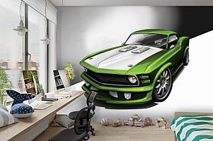 3D Фотообои «Скетч зеленый мустанг» вид 3