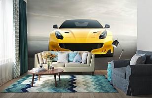 3D Фотообои «Желтый спортивный автомобиль» вид 6