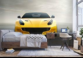 3D Фотообои «Желтый спортивный автомобиль» вид 5