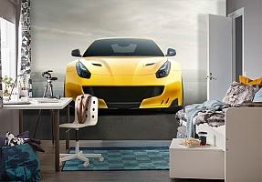 3D Фотообои «Желтый спортивный автомобиль» вид 4