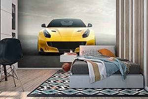 3D Фотообои «Желтый спортивный автомобиль» вид 2