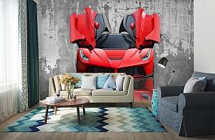 3D Фотообои «Красное авто на бетонном фоне» вид 6