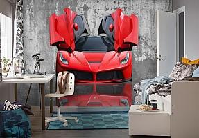 3D Фотообои «Красное авто на бетонном фоне» вид 4