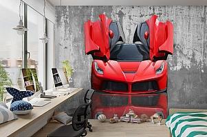 3D Фотообои «Красное авто на бетонном фоне» вид 3