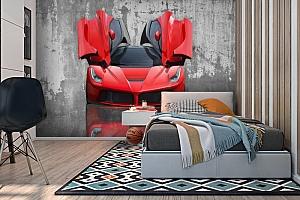 3D Фотообои «Красное авто на бетонном фоне» вид 2