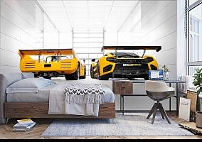 3D Фотообои «Светлый гараж с двумя желтыми спорткарами» вид 5