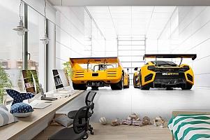3D Фотообои «Светлый гараж с двумя желтыми спорткарами» вид 3
