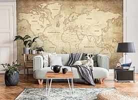 3D Фотообои «Карта мира в винтажном стиле» вид 8