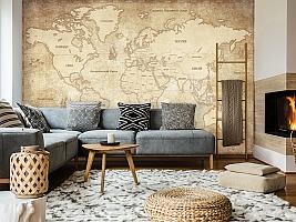 3D Фотообои «Карта мира в винтажном стиле» вид 7