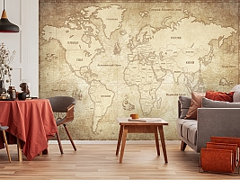 3D Фотообои «Карта мира в винтажном стиле» вид 5