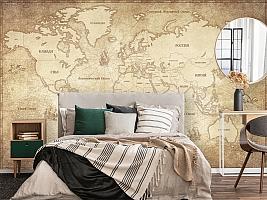 3D Фотообои «Карта мира в винтажном стиле» вид 4