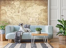 3D Фотообои «Карта мира в винтажном стиле» вид 2