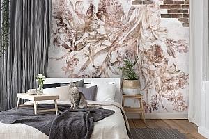 3D Фотообои «Иллюстрация цветами на стене»