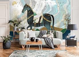 3D Фотообои «Аппликационная композиция с лошадью»