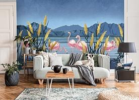 3D Фотообои «Фламинго в вечернем пруду»