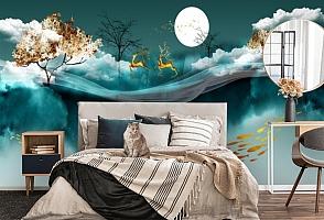3D Фотообои «Аппликация с оленями под луной»