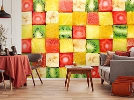 3D Фотообои «Сочные фруктовые кубики»