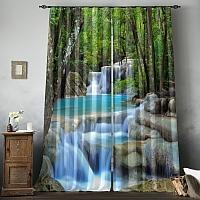 Фотошторы «Водопад в зеленом лесу» вид 8