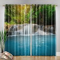Фотошторы «Водопад с голубой водой» вид 4