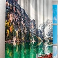 Фотошторы «Лодочки на горном озере» вид 3