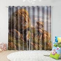 Фотошторы «Величественные львы» вид 5