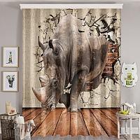 Фотошторы «Носорог сквозь стену» вид 8
