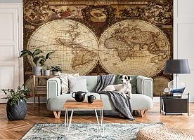 3D Фотообои  «Карта мира для кабинета»  вид 8