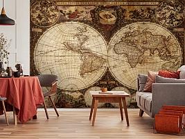 3D Фотообои  «Карта мира для кабинета»  вид 5