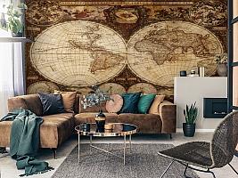 3D Фотообои  «Карта мира для кабинета»  вид 3