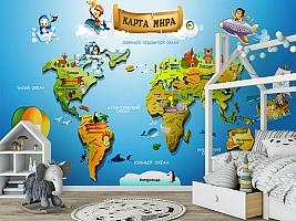 3D Фотообои «Карта континентов для детей» вид 6