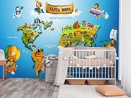 3D Фотообои «Карта континентов для детей» вид 3
