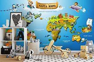 3D Фотообои «Карта континентов для детей» вид 2