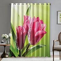 Фотошторы «Тюльпаны на зеленом фоне» вид 5