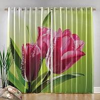 Фотошторы «Тюльпаны на зеленом фоне» вид 4